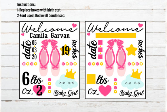 Download Free Ballerina Baby Announcement Chart Graphic By Redearth And for Cricut Explore, Silhouette and other cutting machines.
