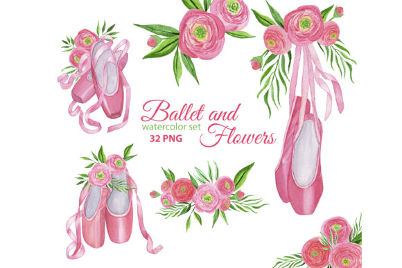 Print on Demand: Ballet Shoes and Watercolor Ranunculus Graphic Illustrations By s.yanyeva