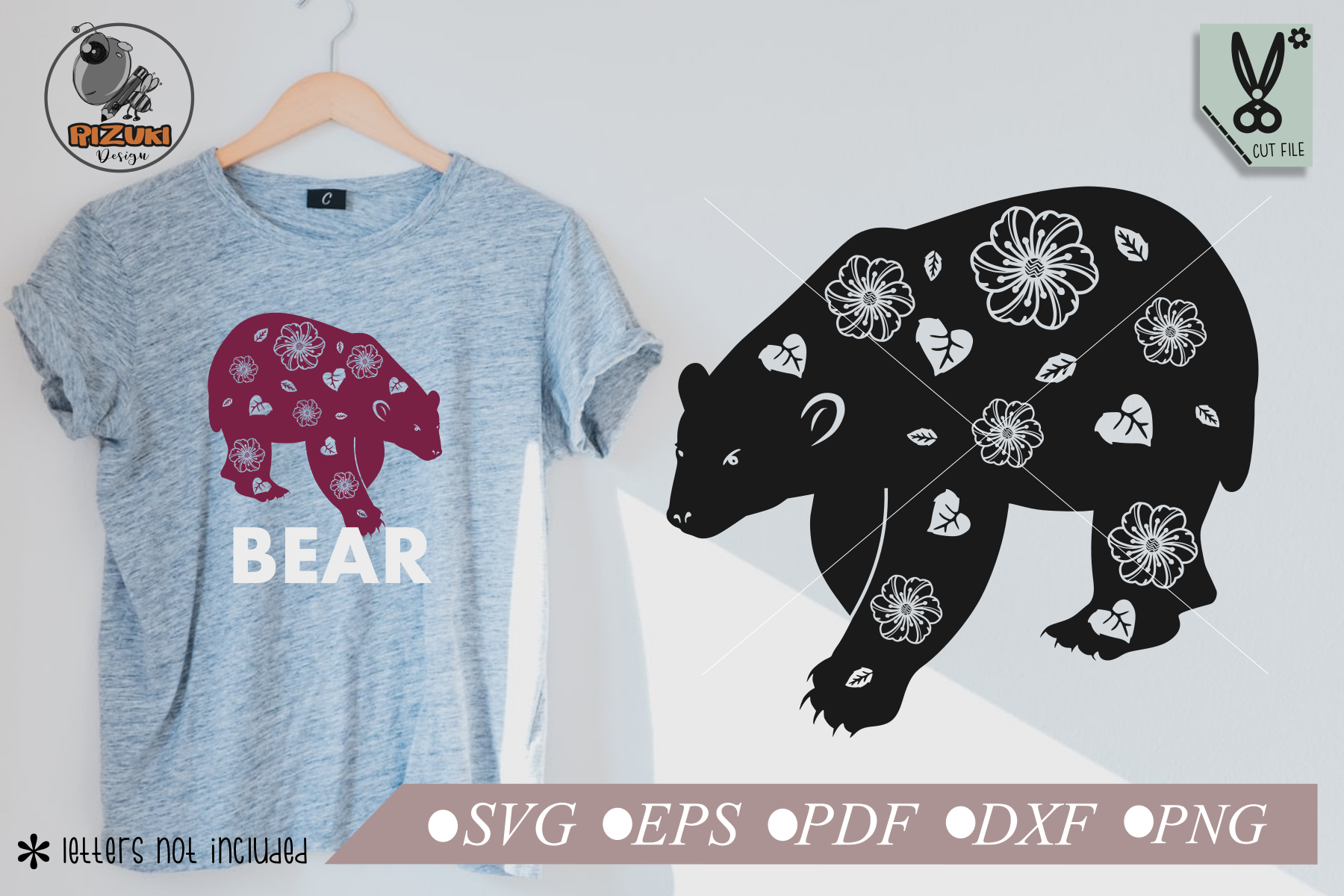 Download Free Bear With Carved Flowers And Leaves Graphic By Rizuki Store for Cricut Explore, Silhouette and other cutting machines.