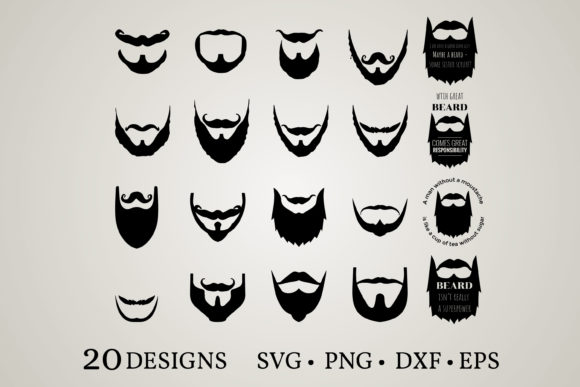 Beard Bundle Graphic Print Templates By Euphoria Design