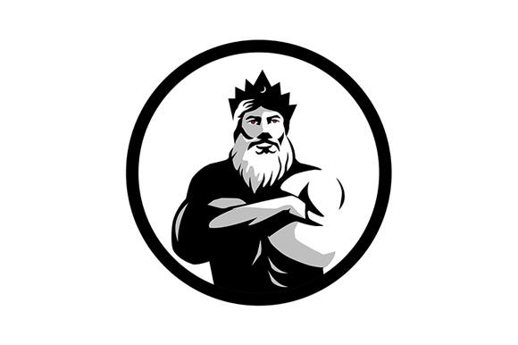 Download Free Bearded Man Wearing Crown Arms Crossed Graphic By Patrimonio for Cricut Explore, Silhouette and other cutting machines.