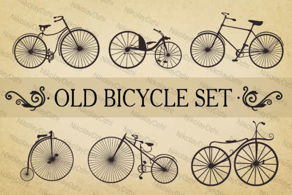 Bicycle Vector Set Old Graphic Illustrations By Niko Dzhi