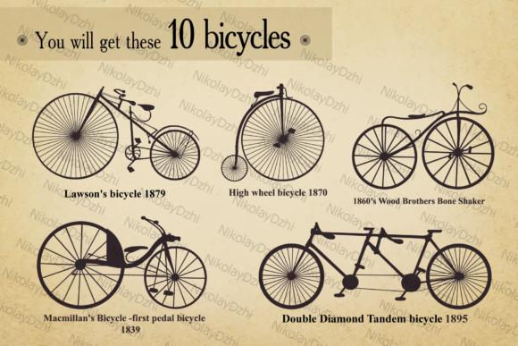 Download Free Bicycle Vector Set Old Grafico Por Niko Dzhi Creative Fabrica for Cricut Explore, Silhouette and other cutting machines.