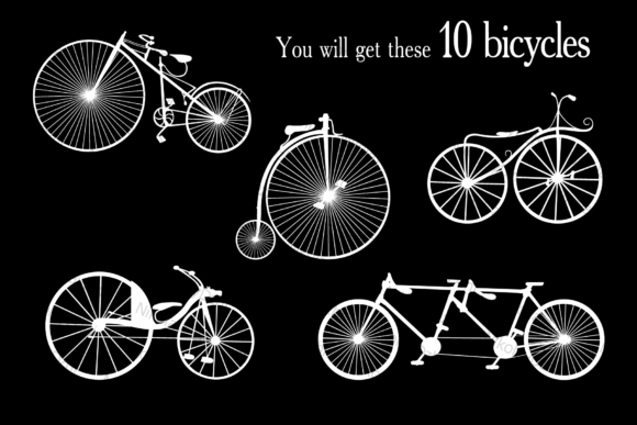 Download Free Bicycle Vector Set Old Graphic By Niko Dzhi Creative Fabrica for Cricut Explore, Silhouette and other cutting machines.