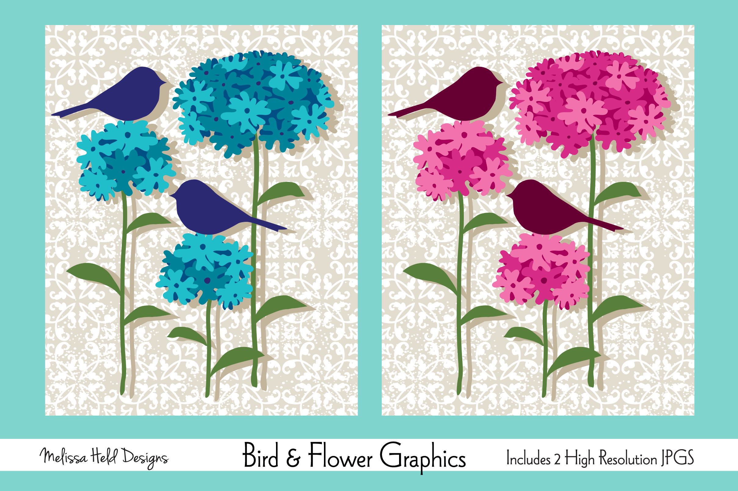 Download Free Bird And Flower Graphics Graphic By Melissa Held Designs for Cricut Explore, Silhouette and other cutting machines.