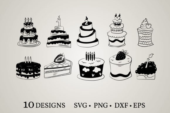 Download Free Birthday Cake Bundle Graphic By Euphoria Design Creative Fabrica for Cricut Explore, Silhouette and other cutting machines.