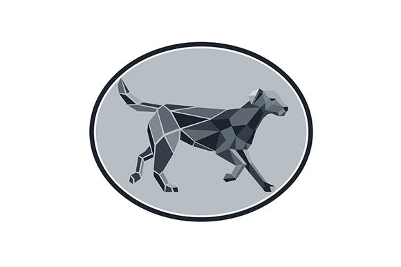 Download Free Black Labrador Standing Low Polygon Oval Graphic By Patrimonio for Cricut Explore, Silhouette and other cutting machines.