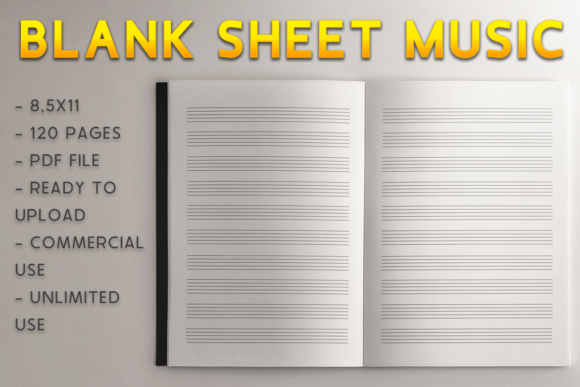 Download Free Blank Sheet Music Kdp Interior Graphic By Kdp Product Creative Fabrica for Cricut Explore, Silhouette and other cutting machines.