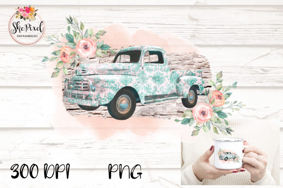 Print on Demand: Blue Vintage Truck Transparent Grafik Illustrationen von ShePixel