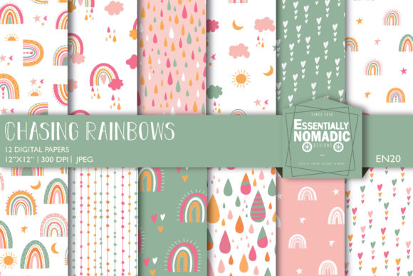 Boho Rainbow Seamless Digital Paper Graphic Patterns By EssentiallyNomadic