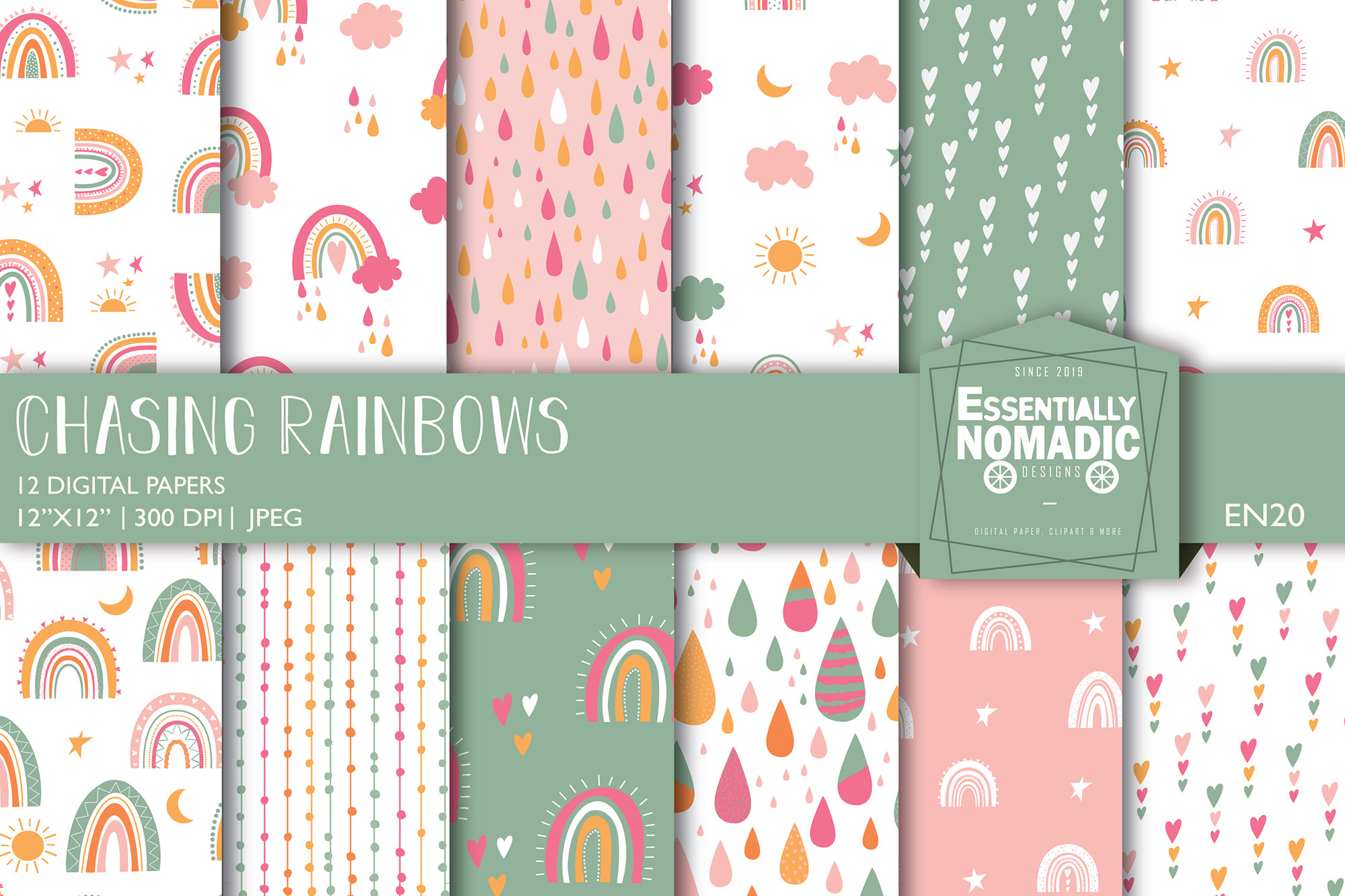 Download Free Boho Rainbow Seamless Digital Paper Graphic By SVG Cut Files