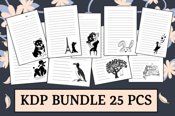 Print on Demand: Bundle 25 KDP Interiors Themed Journals Graphic KDP Interiors By Hungry Puppy Studio