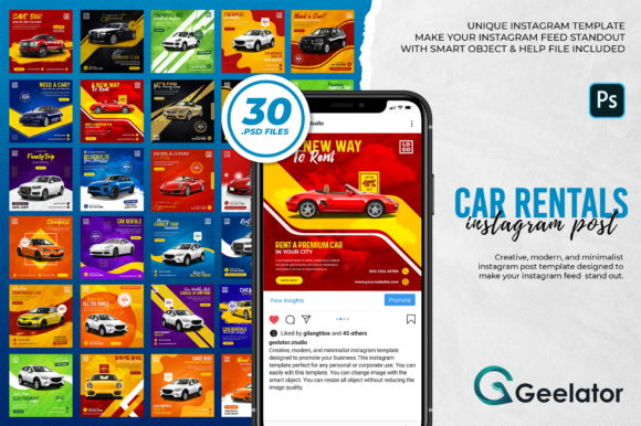 Download Free Car Rentals Instagram Post Template Graphic By Geelator for Cricut Explore, Silhouette and other cutting machines.