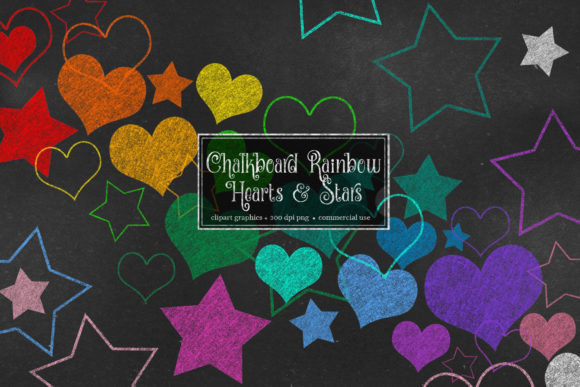 Print on Demand: Chalkboard Rainbow Hearts and Stars Graphic Illustrations By Digital Curio