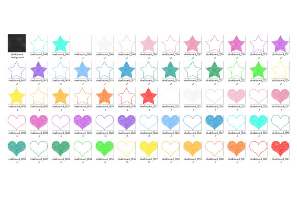 Print on Demand: Chalkboard Rainbow Hearts and Stars Graphic Illustrations By Digital Curio - Image 3