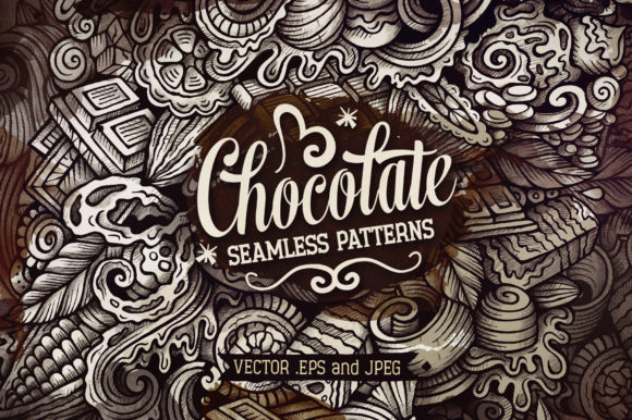 Chocolate Doodles Graphics Patterns Set Graphic Patterns By BalabOlka