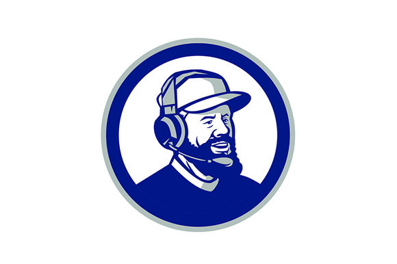 Print on Demand: Coach with Beard and Headphones Circle Graphic Illustrations By patrimonio