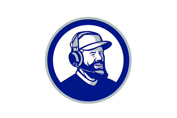 Download Free Coach With Beard And Headphones Circle Graphic By Patrimonio for Cricut Explore, Silhouette and other cutting machines.