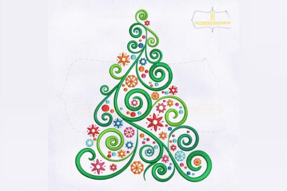 Colorful and Swirl Christmas Tree Navidad Diseños de bordado Por RoyalEmbroideries