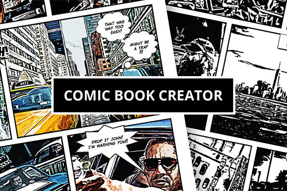 Download Free Comic Book Creator Graphic By Erengoksel Creative Fabrica for Cricut Explore, Silhouette and other cutting machines.