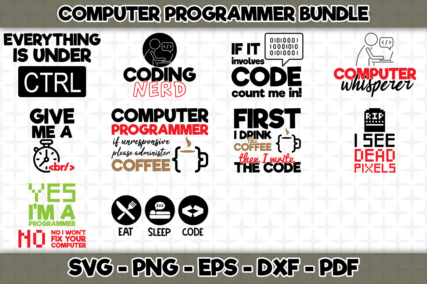 Download Free Computer Programmer Bundle 10 Designs Graphic By Svgexpress for Cricut Explore, Silhouette and other cutting machines.