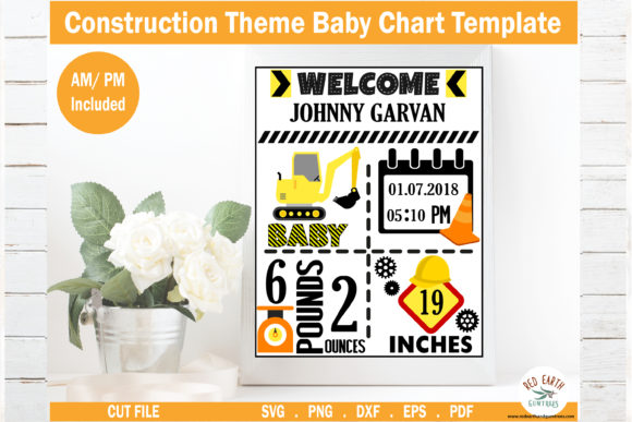 Construction Theme Baby Announcement Graphic Crafts By redearth and gumtrees