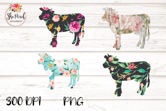 Print on Demand: Cow Clipart, Flower Pattern Cow, Farm Grafik Illustrationen von ShePixel