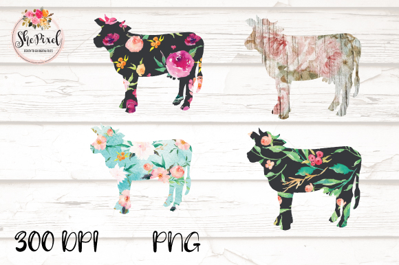 Download Free Cow Clipart Flower Pattern Cow Farm Graphic By Shepixel for Cricut Explore, Silhouette and other cutting machines.