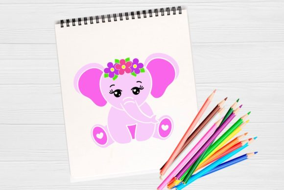 Download Free Cute Baby Elephant Graphic Graphic By Magic World Of Design for Cricut Explore, Silhouette and other cutting machines.