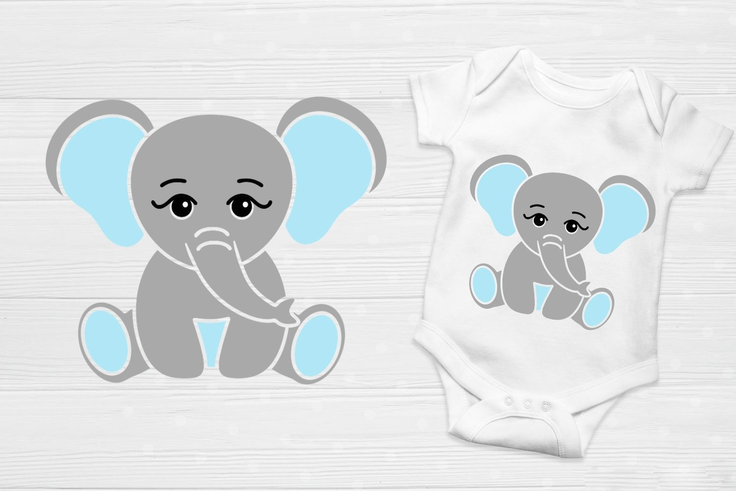 Download Free Cute Little Baby Boy Elephant Graphic By Magic World Of Design for Cricut Explore, Silhouette and other cutting machines.