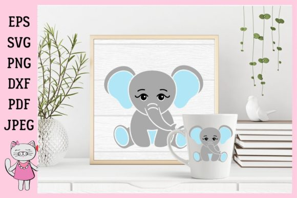 Download Free Cute Little Baby Boy Elephant Graphic By Magic World Of Design Creative Fabrica for Cricut Explore, Silhouette and other cutting machines.