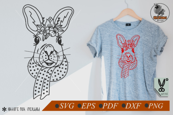 Download Free Cute Rabbit Head With Flower Graphic By Rizuki Store Creative for Cricut Explore, Silhouette and other cutting machines.