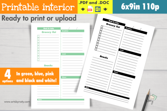 Print on Demand: Daily Meal Planner Printable Interior Graphic KDP Interiors By artsbynaty