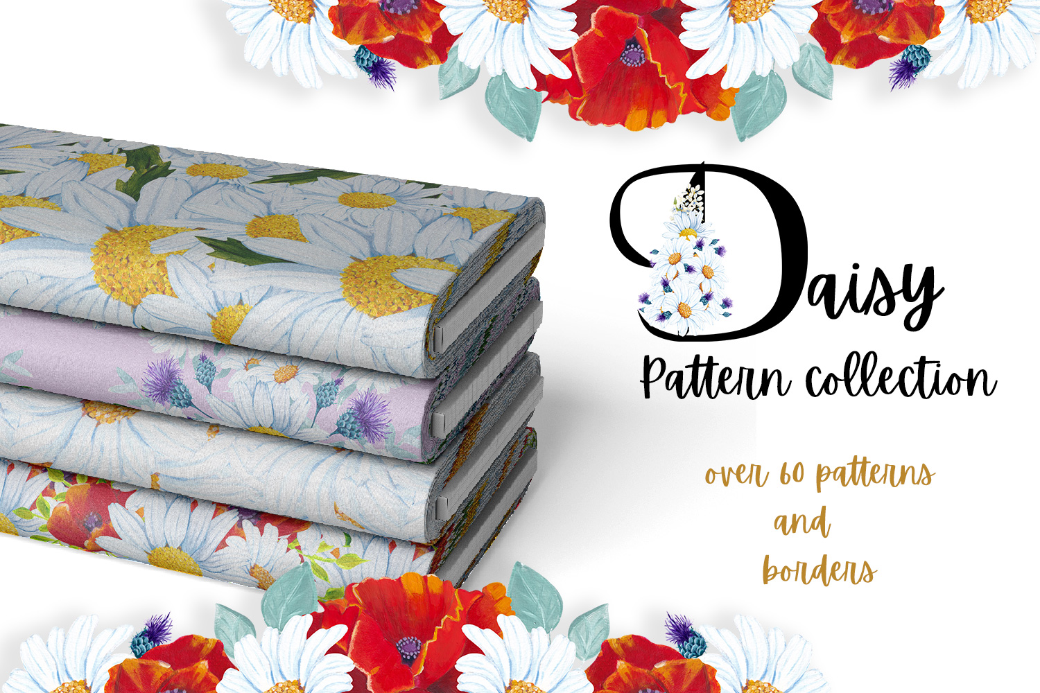 Download Free Daisy Pattern Collection Graphic By Andreea Eremia Design for Cricut Explore, Silhouette and other cutting machines.