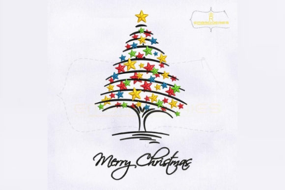 Decorative Merry Christmas Tree Christmas Embroidery Design By RoyalEmbroideries - Image 1