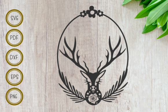 Download Free Deer Head With Wreath And Oval Frame Graphic By Rizuki Store for Cricut Explore, Silhouette and other cutting machines.