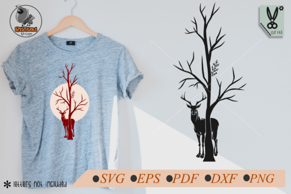 Deer with Dry Tree Silhouette Graphic Crafts By RIZUKI Store