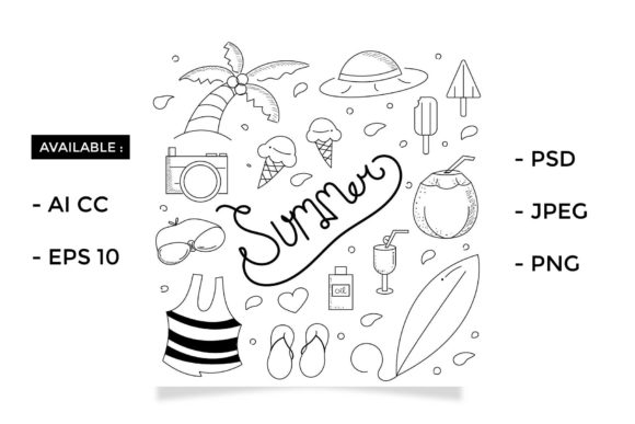 Download Free Doodle Summer Graphic By Griyolabs Creative Fabrica for Cricut Explore, Silhouette and other cutting machines.