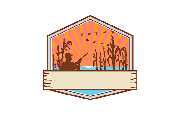Download Free Duck Hunter In Cornfield Shield Retro Graphic By Patrimonio for Cricut Explore, Silhouette and other cutting machines.
