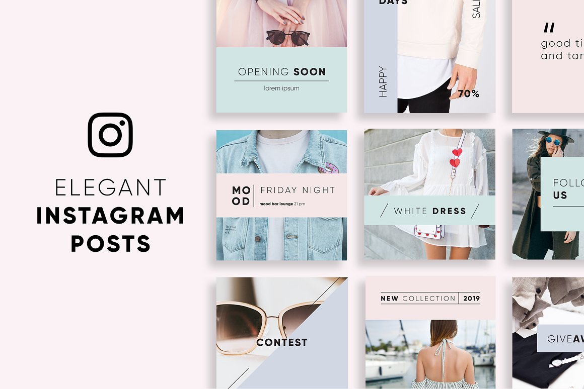 Download Free Elegant Instagram Posts Graphic By Krisjanis Creative Fabrica for Cricut Explore, Silhouette and other cutting machines.