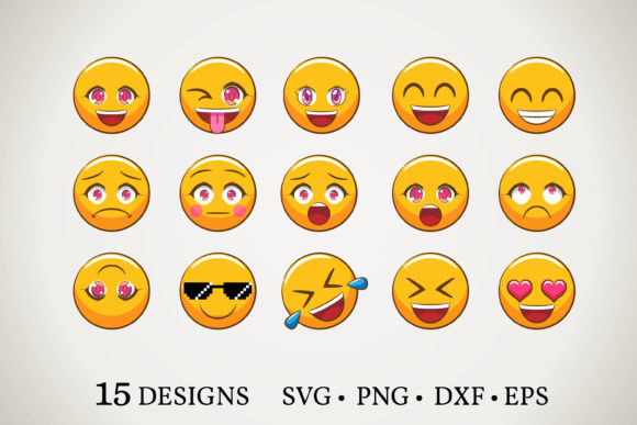 Emoji Bundle Graphic Print Templates By Euphoria Design