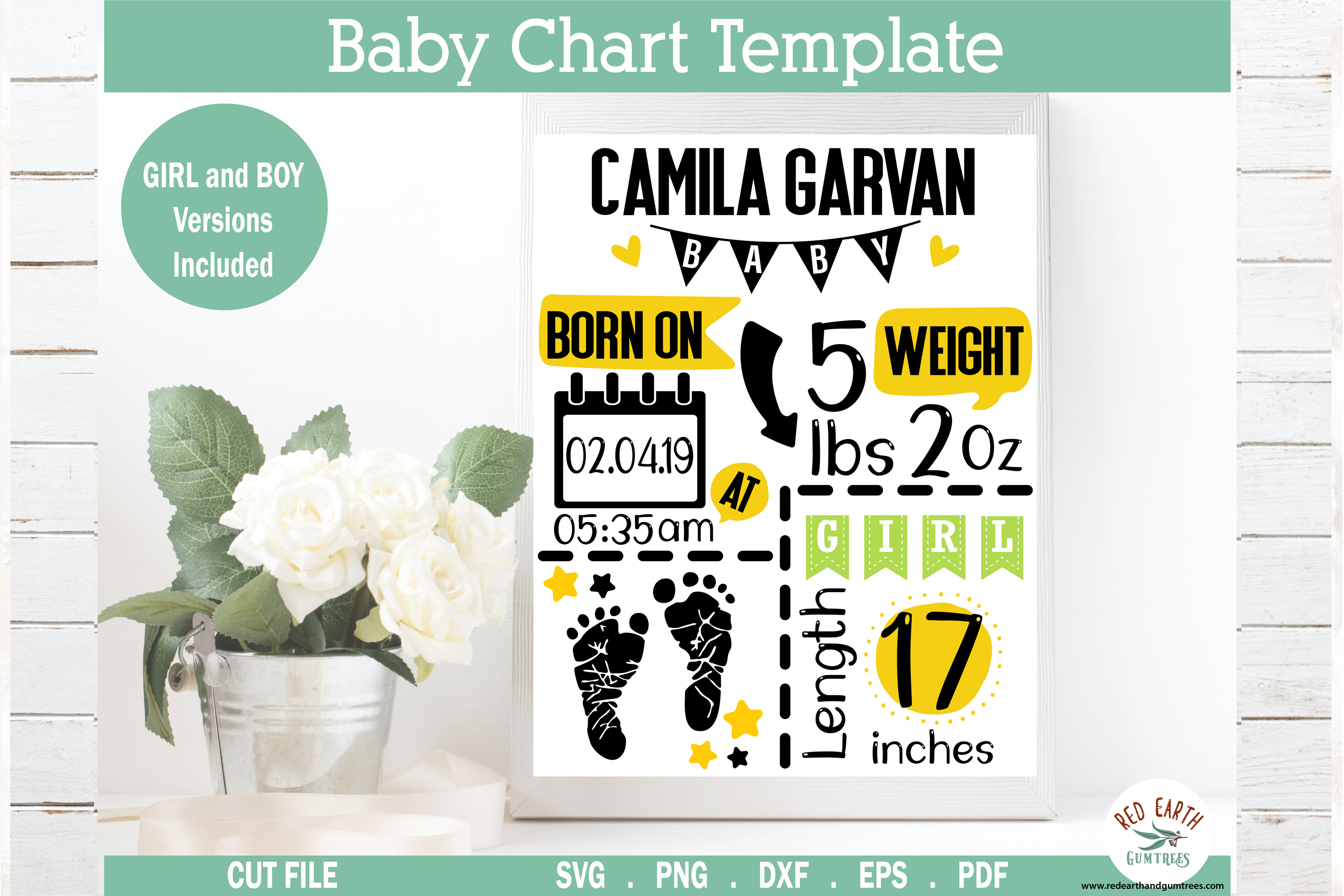 Feet Baby Announcement Chart Template SVG File