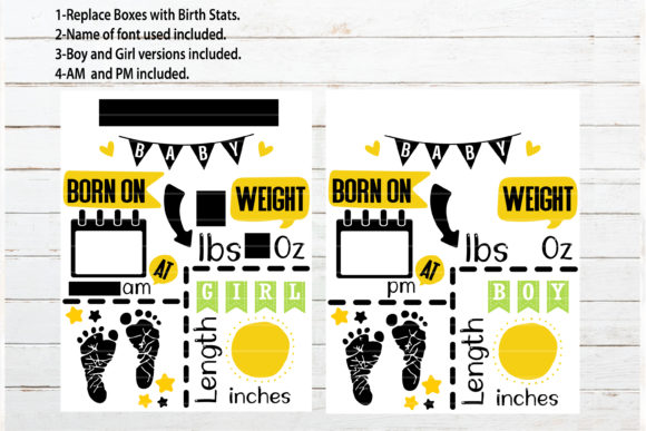 Download Free Feet Baby Announcement Chart Template Graphic By Redearth And for Cricut Explore, Silhouette and other cutting machines.