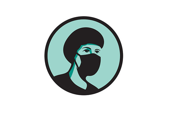 Download Free Female Nurse Wearing Black Mask Mascot Graphic By Patrimonio for Cricut Explore, Silhouette and other cutting machines.