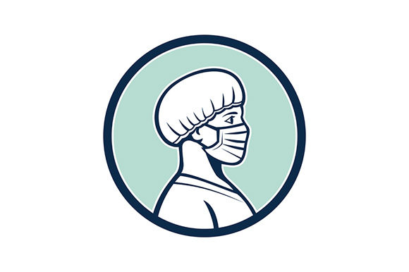 Download Free Female Nurse Wearing Face Mask Side Prof Graphic By Patrimonio for Cricut Explore, Silhouette and other cutting machines.