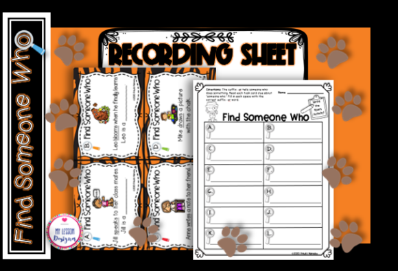 Find Someone Who Suffix -ER Task Cards Graphic 1st grade By My Lesson Designer - Image 3