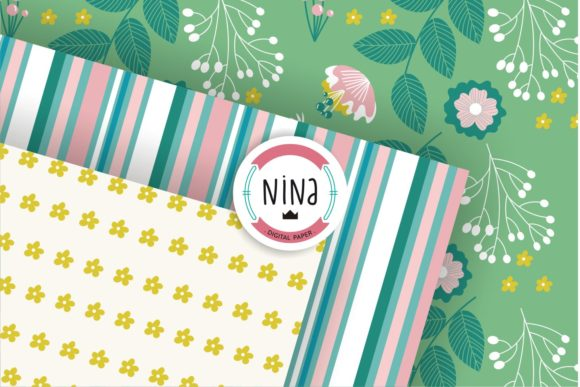 Download Free Floral Digital Paper Modern Patterns Graphic By Nina Prints for Cricut Explore, Silhouette and other cutting machines.