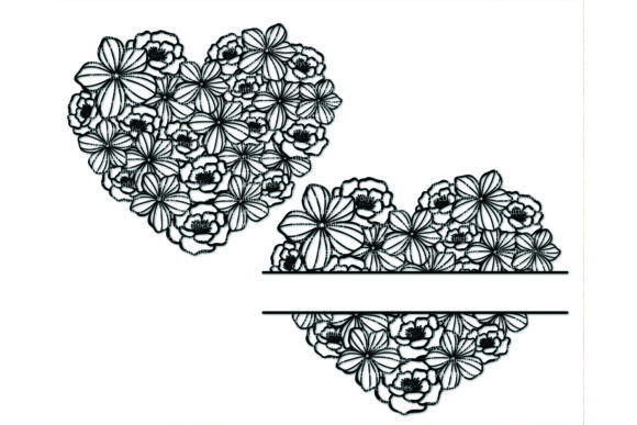 Floral Heart Frame Paper Cut Template Graphic By Diycuttingfiles
