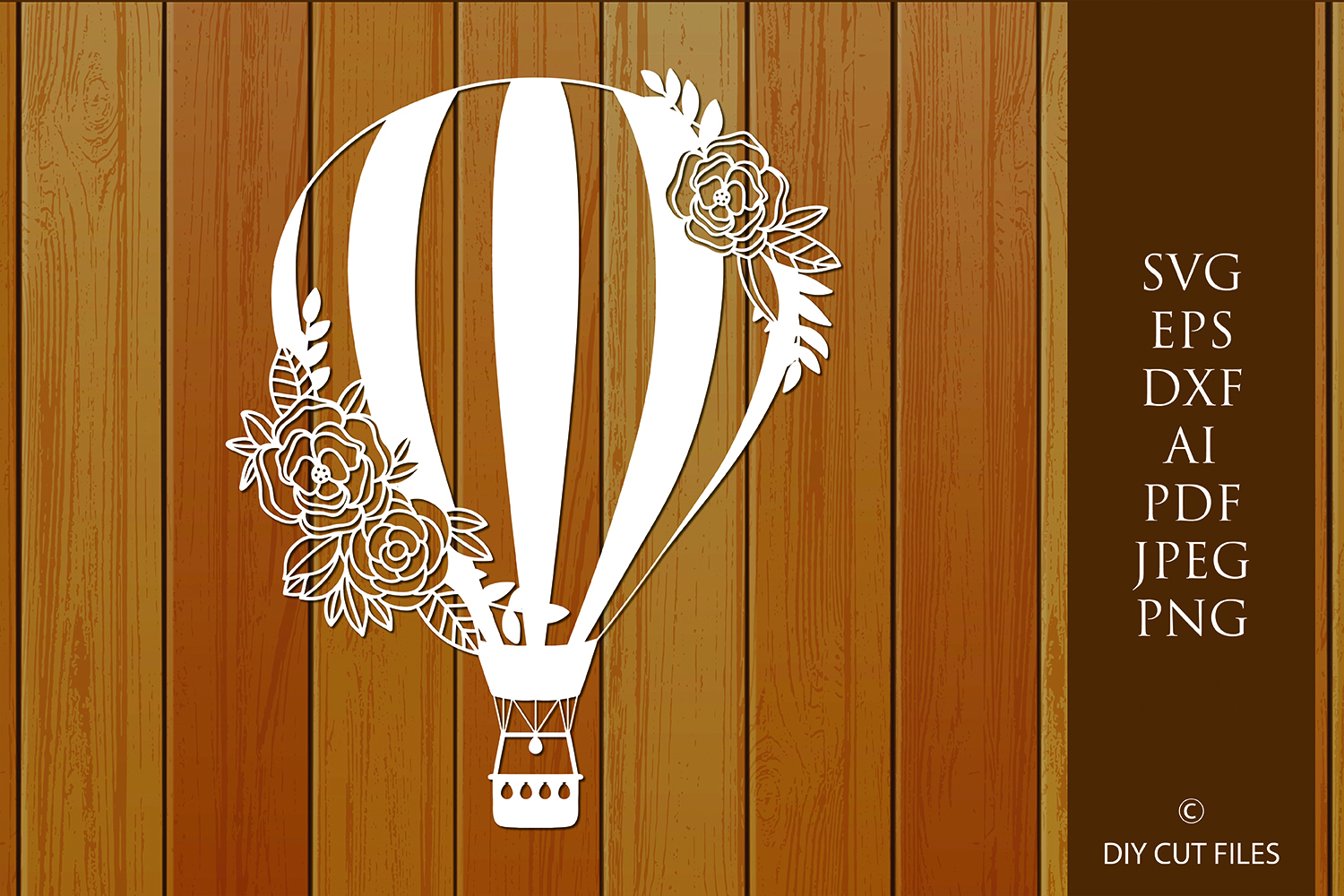 Download Free Floral Hot Air Balloon Cut File Graphic By Diycuttingfiles SVG Cut Files