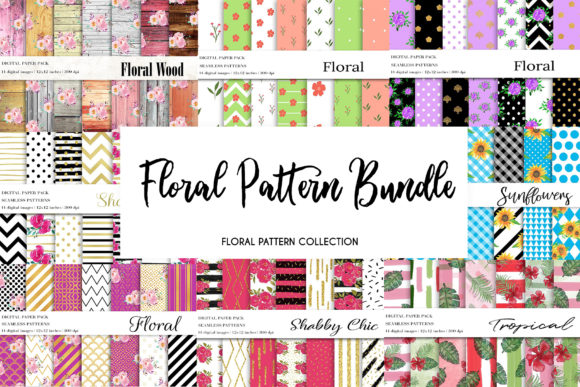 Floral Pattern Bundle, Floral Patterns Graphic Patterns By BonaDesigns